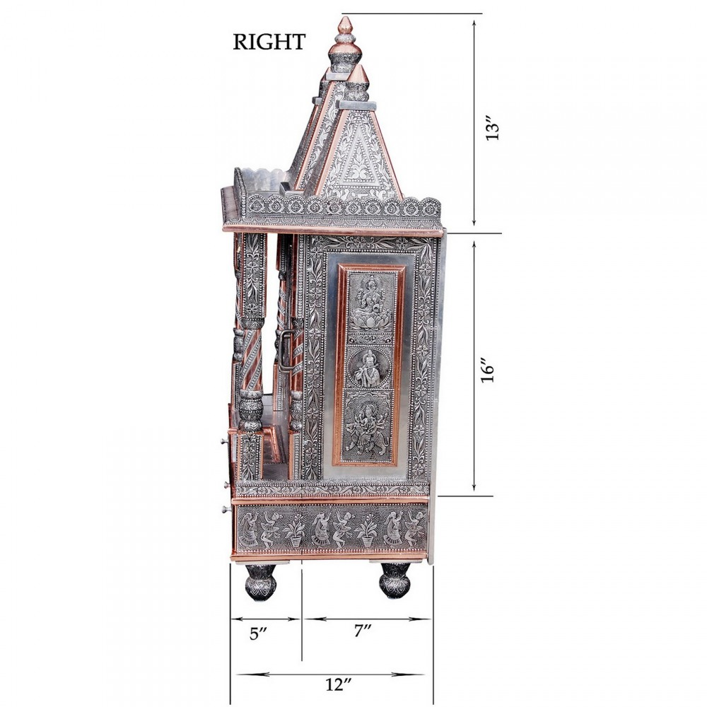 Big Oxidized Silver Pooja Mandir for Home and Offices - OC122437 ...