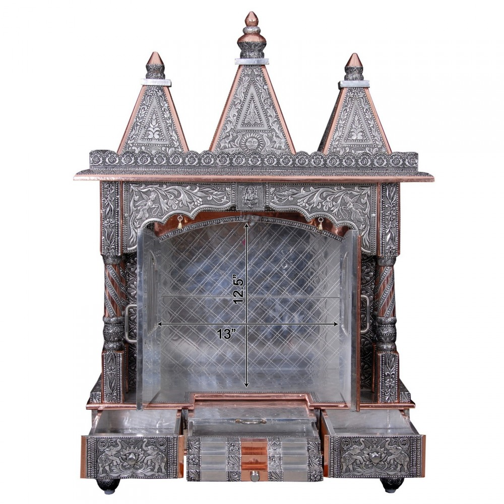 Big Oxidized Silver Pooja Mandir For Home And Offices   OC122437   Oxidized  Temples, Temples