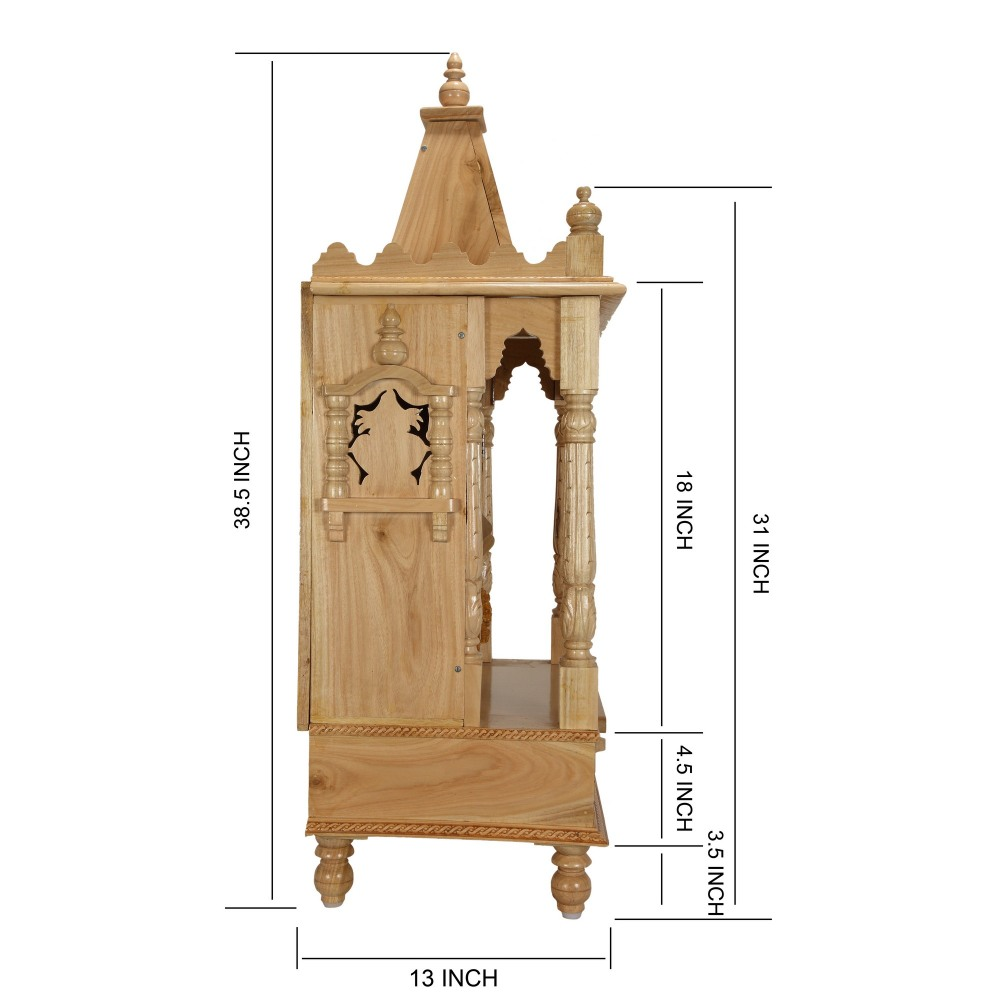 Sevan Wooden Temple Mandir for Home Puja 19Lx13B - SW131938 - Sevan ...