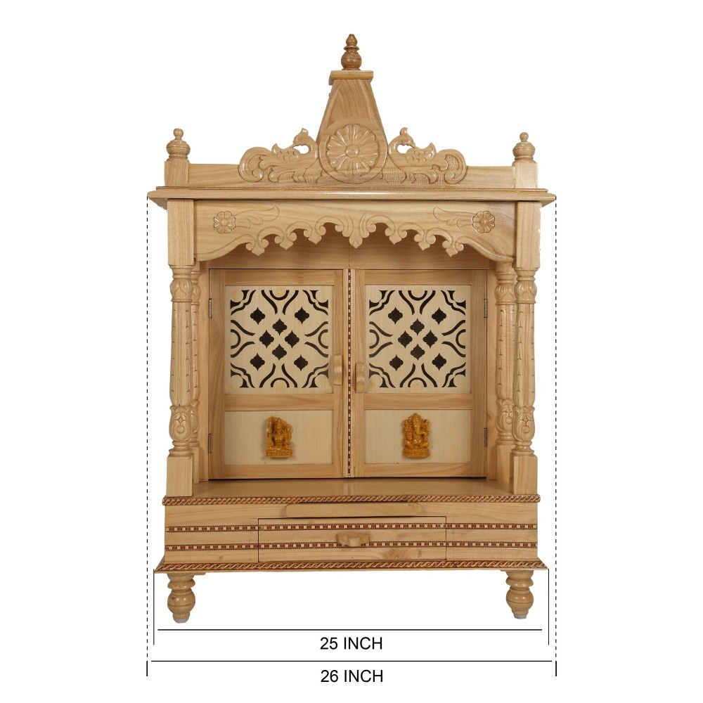 Sevan Wooden Temple For Home Pooja Puja 25lx13b Sw132540 Sevan
