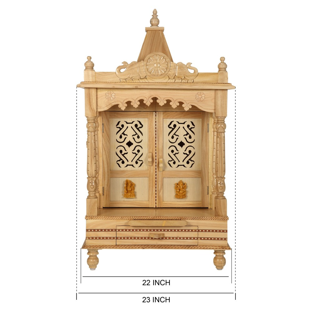 Sevan Wooden Mandir for Home Pooja Puja 22Lx15 - SW152240 - Sevan ...