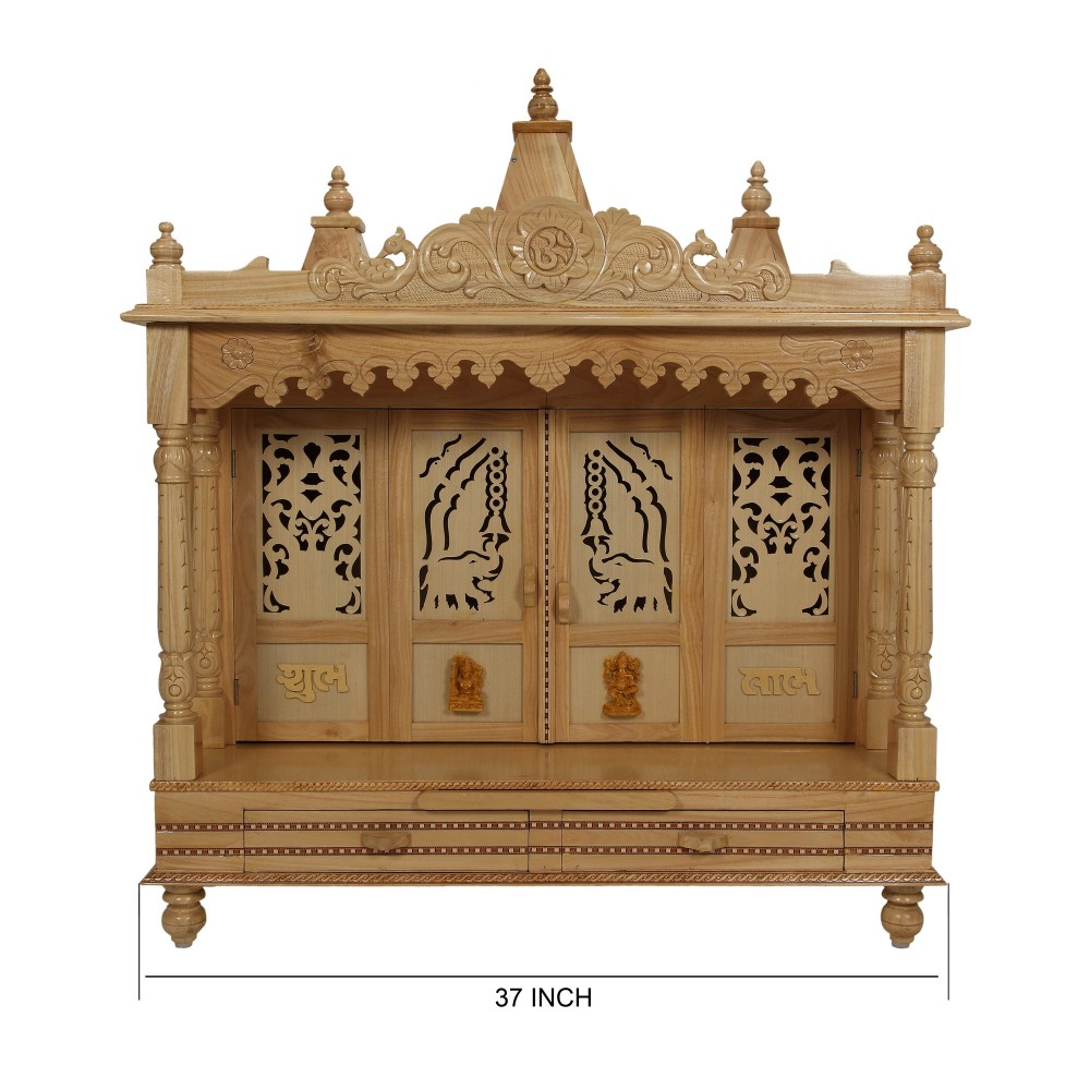 Sevan Wooden Temple For USA Home Pooja 37Lx19B   SW193742   Sevan Wood  Mandir, Temples