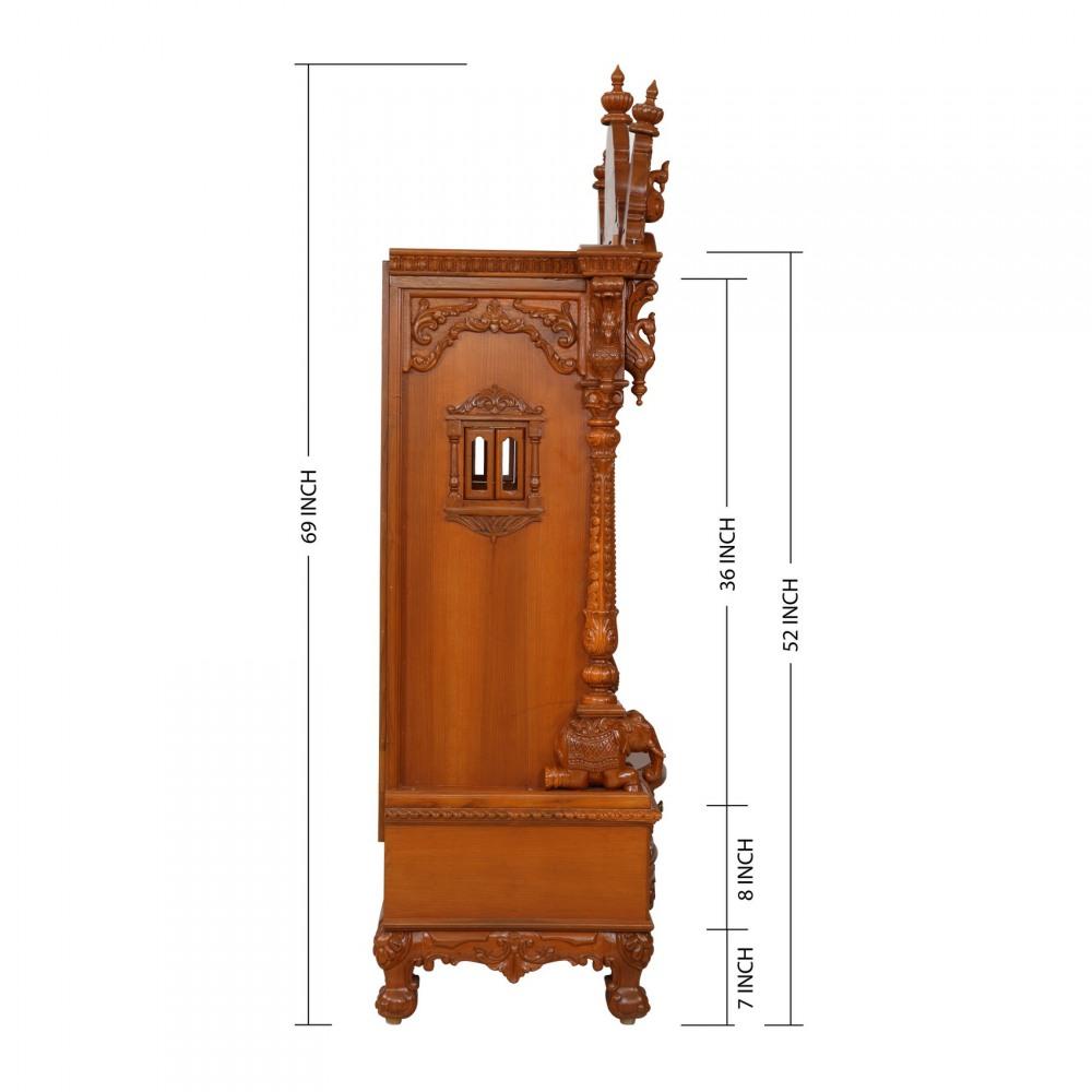 Teak Wood Open Carving Puja Mandir for Home - 280814_3047 - Teak ...