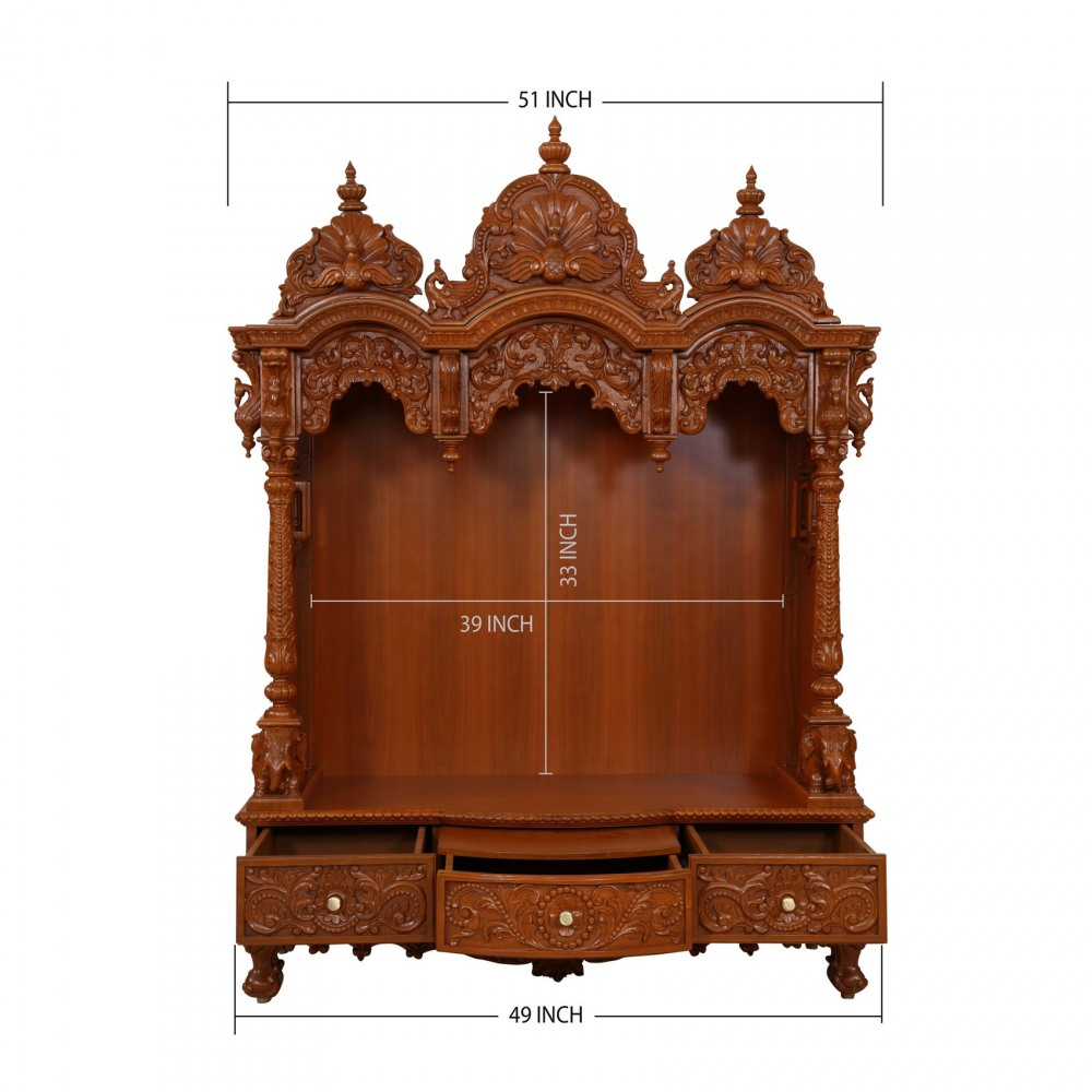 Teak wood open carving puja mandir for home