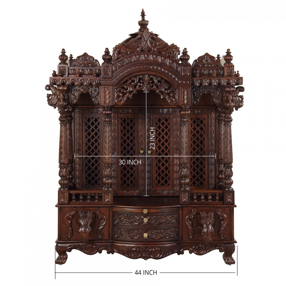 Handicraft Wooden Carving Home Pooja Mandir In Usa 091013 2963