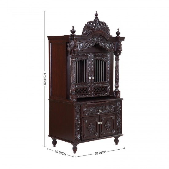 Superbe Teak Wooden Small Pooja Cabinet For Indian Homes In USA   170613_2601    Teak Wood Temple, Temples