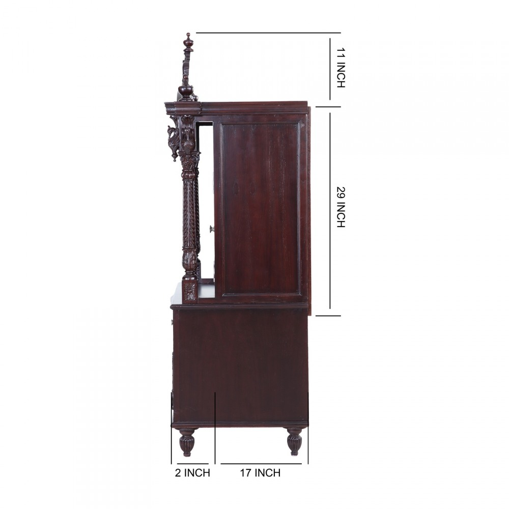 Teak Wooden Small Pooja Cabinet for Indian Homes in USA ...