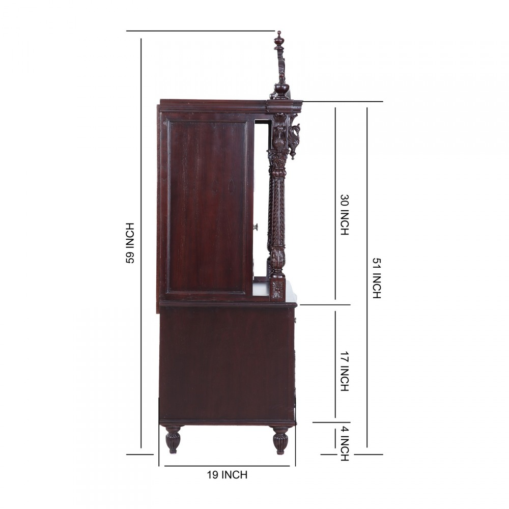 Teak Wooden Small Pooja Cabinet For Indian Homes In USA   170613_2601    Teak Wood Temple, Temples