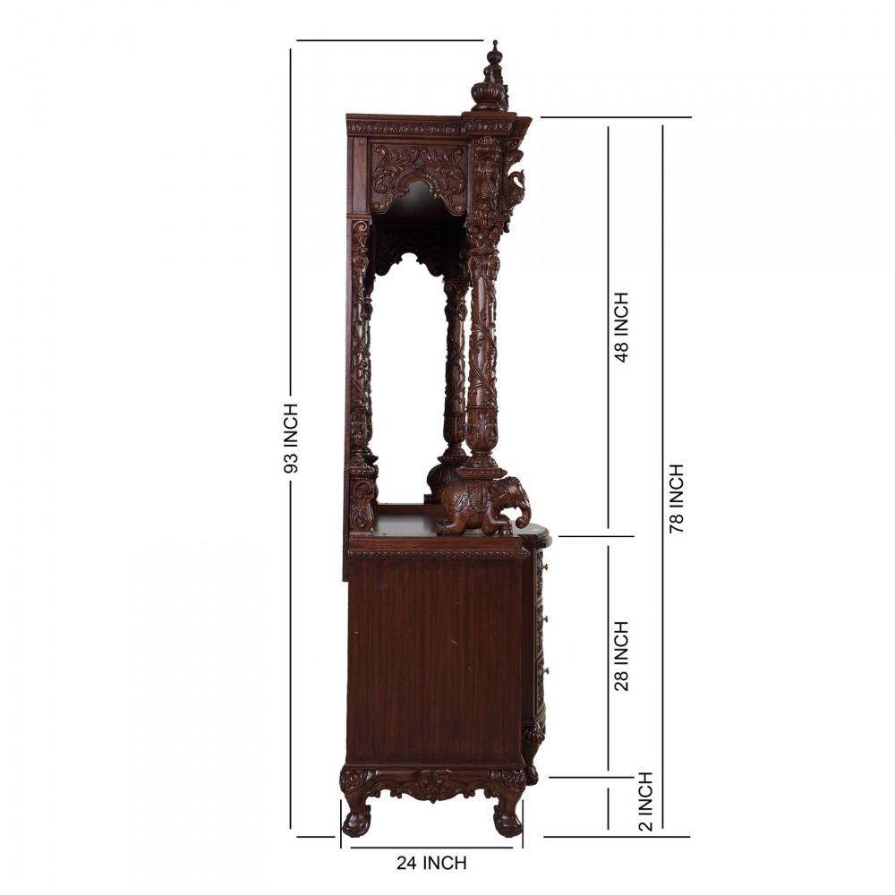 Large Teak Wood Carving Home Puja Mandir - 170613_2614 - Teak Wood ...