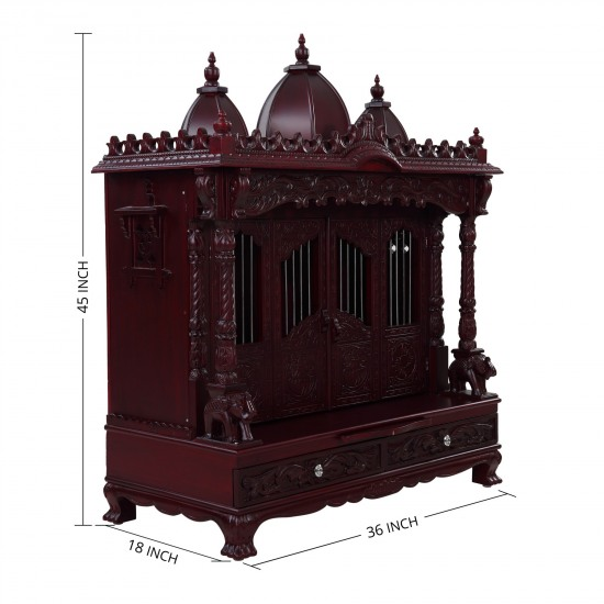 Sevan Wood Carving With Door Pooja Temple For Home 240913 2945