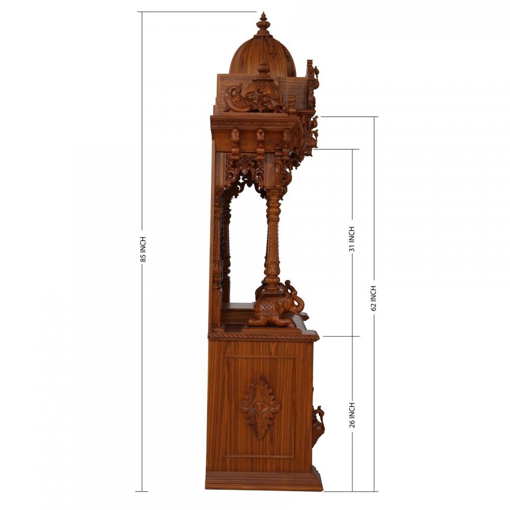Indian Spiritual Teak Wood Carving Home Pooja Mandir in USA ...