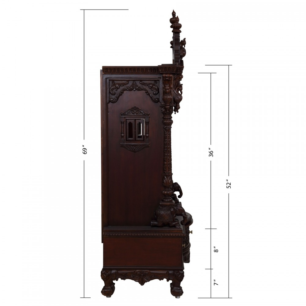 Teak Wood Open Carving Puja Mandir for Home in USA - 280814_3049 ...