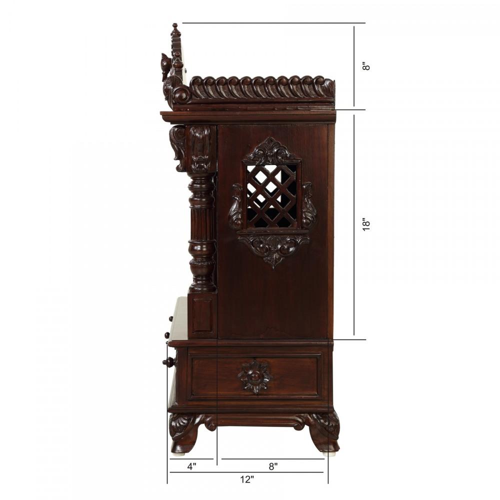 Teakwood Big Temple with Door without Dome - TDW122534D - Teak Wood ...