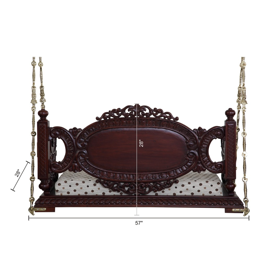 Beautiful Carved Walnut Indian Traditional Royal Swings Reversible Seater For Usa Home