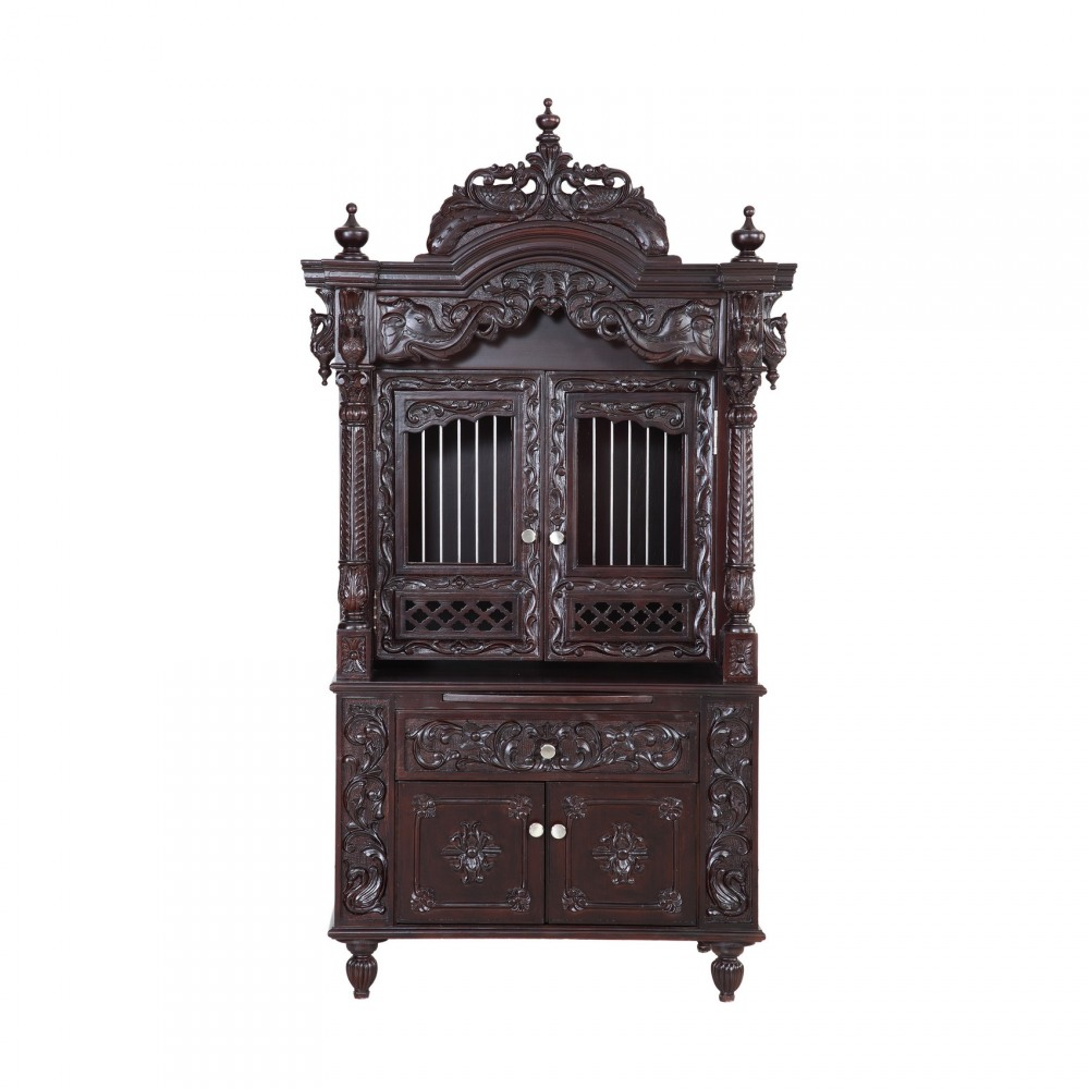 Teak Wooden Small Pooja Cabinet For Indian Homes In Usa