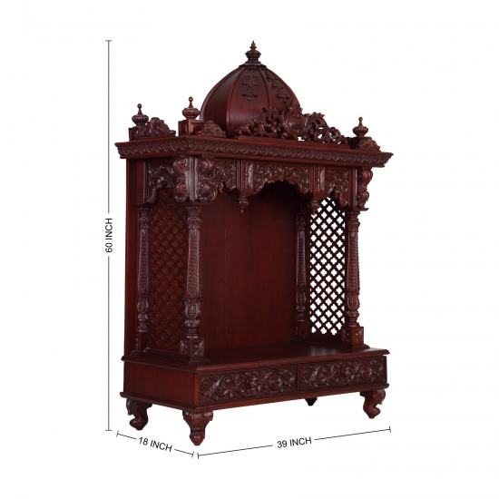 Temple Texas Traditional Home: Indian Traditional Wooden Carving Puja Mandir For Home In